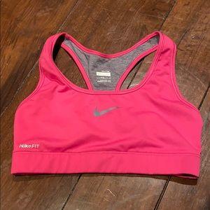 Pink Nike fit dry sports bra